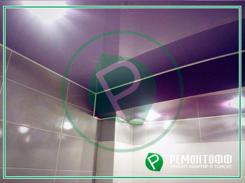 Натяжной потолок в Томске в ванной 3м2. Установка натяжного потолка с гарантией. Глянцевый натяжной потолок. Безопасный монтаж, гарантия 10 лет!